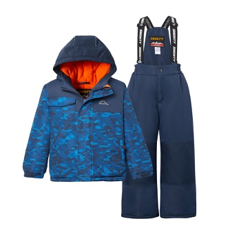 2-piece Kid Striped Hooded Jacket and Snow Bib Ski Suit