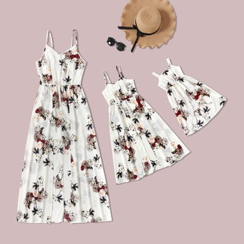 Mommy and Me Plant Flower Print Overlay Rompers
