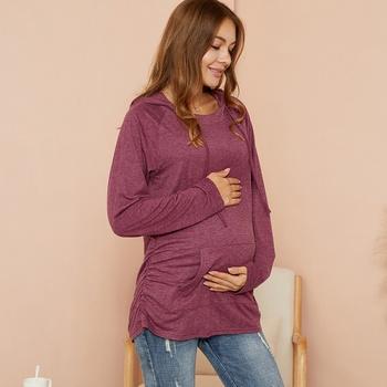 Maternity Hooded  Plain Burgundy Hoodie