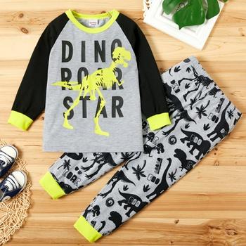 Fashionable Dinosaur Letter Print Long-sleeve Sweatshirt and Allover Pants Set
