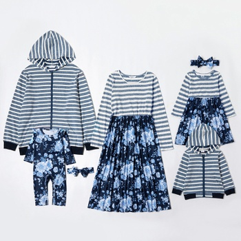 Mosaic Family Matching Cotton Sets(Floral Dresses - Stripe Zipper Sweatshirts)