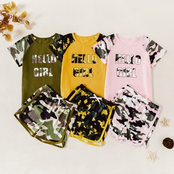 Kids Girl Leopard Letter Tee and Shorts Set