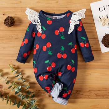 Cherry Pattern Lace Shoulder Baby Romper