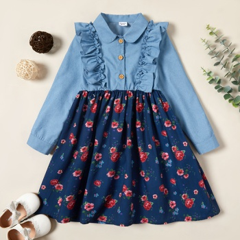 Kid Girl Denim Floral Dress