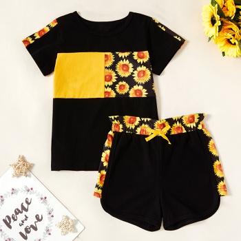 Kids Girl Sunflower Tee and Shorts Set