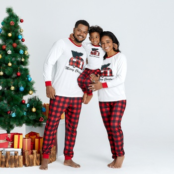 Family Matching Plaid Car Carry Christmas Tree Pajamas Sets (Flame Resistant)