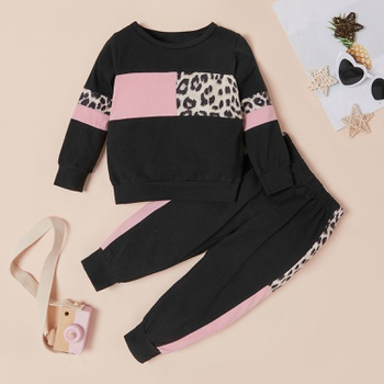 2-piece Baby / Toddler Girl Splice Colorblock Leopard Print Long-sleeve Pullover and Pants Set