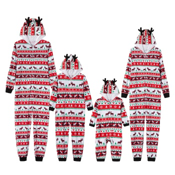 Mosaic Family Matching Deer Christmas Hooded Onesies Pajamas (Flame Resistant)