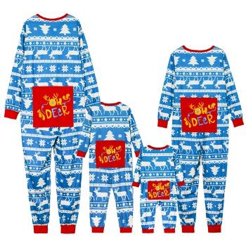 Traditional Christmas Print Family Matching Onesies Pajamas(Flame resistant)