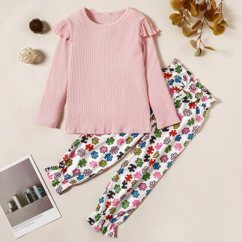Trendy Solid Ruffled Longsleeves Tee and Puzzle Allover Print Pants Set
