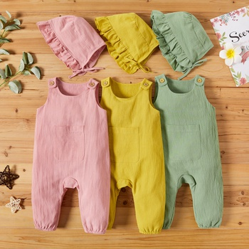 Baby Girl Casual Solid Rompers