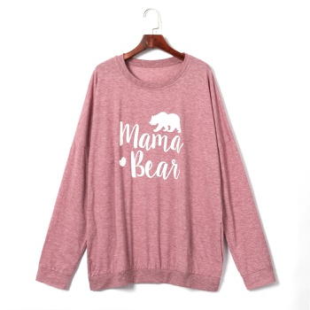 Round collar Animal Litooffset print long sleeve casual T-shirt