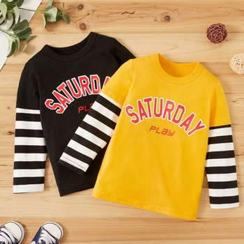 Baby / Toddler Boy Letter Print Striped Long-sleeve Tee