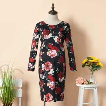 Maternity Round collar Floral full print Multi-color Knee length Slip Long-sleeve Nursing Dress