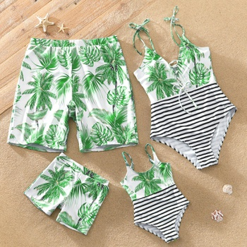 Family Look Coconut Tree Print Striped One-piece Matching Swimsuits