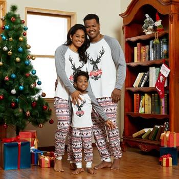 Family Christmas Reindeer Matching Pajamas Sets (Flame Resistant)