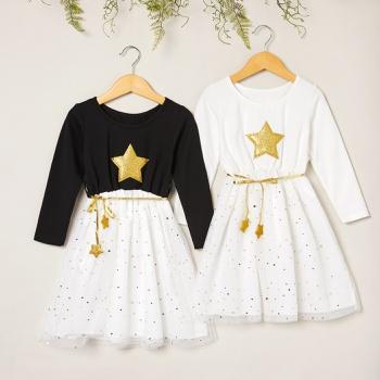 Beautiful Golden Stars Decor Mesh Long-sleeve Dresses