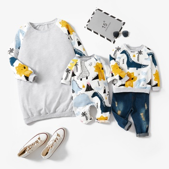 Dinosaur Animal Print Sweatshirts for Mom and Me