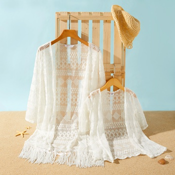 White Lace Crochet Cover Up With Tassel for Mommy and Me