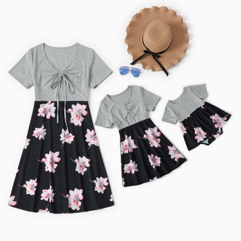 Mommy and Me Casual Floral Stitching Short-sleeve Dresses