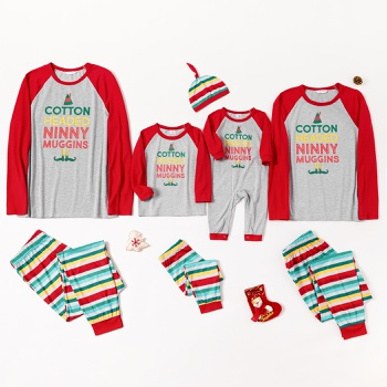 Family Matching Letter Top and Striped Pants Christmas Pajamas Sets (Flame Resistant)
