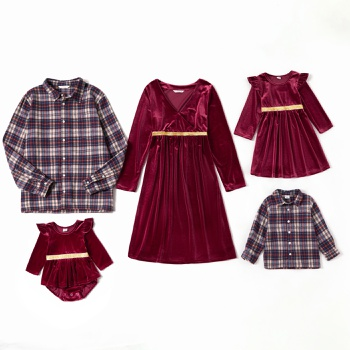 Mosaic Family Matching Sets(Bowknot V-neck Dresses - Plaid Front Button Shirts - Rompers)