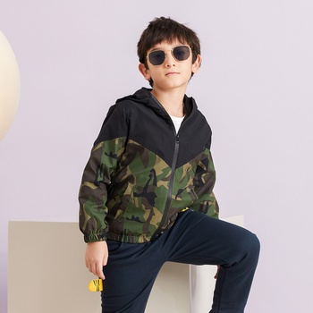 Trendy Boys Camouflage Hooded Zipper Coat Jacket