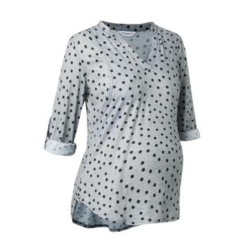 Fashionable Polka Dots Long-sleeve Nursing Tee