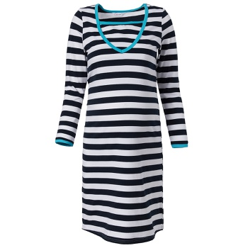 Maternity Sweetheart Stripes full print Dark Blue/white Normal Slip Long-sleeve Nursing Dress