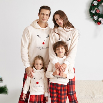 Christmas Antler Solid Plush Hooded Family Matching Sweatshirts