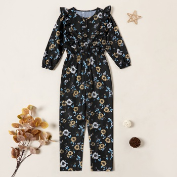 Beautiful Flower Allover Print Ruffled Longsleeves Jumpsuit