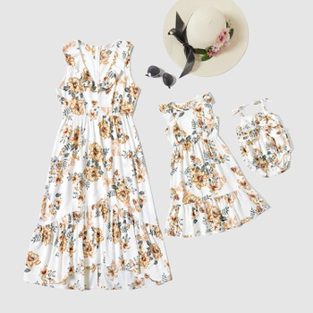 Mommy and Me Floral Print Ruffle Decor Tank Dresses