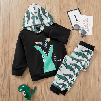 2-piece Baby / Toddler Crocodile Hooded Pullover and Pants Set