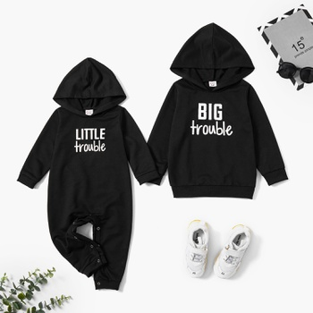 Mosaic Black Hoodies Sibling Sets