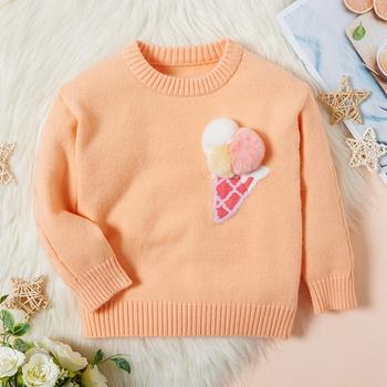 Baby / Toddler Girl Fluffy Ice Cream Long-sleeve Sweater