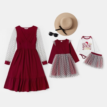 Mosaic Mommy and Me Polka Dot Mesh Stitching Solid Dresses  and  Romper Skirt Set for Baby