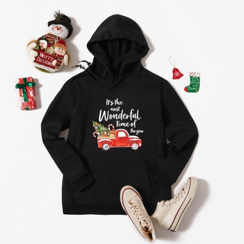Christmas Hooded Black Litooffset print long sleeve normal Pullover