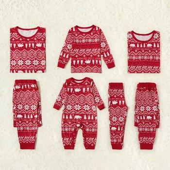 Traditional Christmas Print Family Matching Pajamas Sets(Flame resistant)