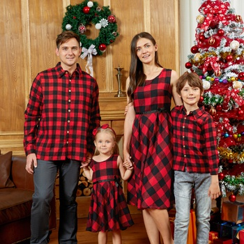 Mosaic Family Matching Cotton Christmas Sets(Bowknot Tank Dresses - Plaid Button Front Shirts- Rompers)