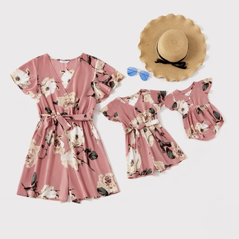 Flower Print V-neck Rompers for Mommy and Me