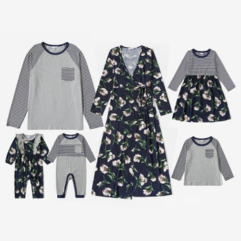 Mosaic Family Matching Sets(Floral V-neck Dresses - Long Sleeve T-shirts -Rompers)