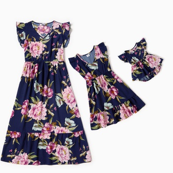 Mosaic Mommy and Me Floral Print Flounce Decor Dresses