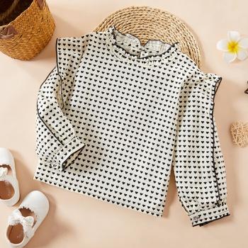 Baby / Toddler Girl Stylish Heart Puff-sleeve Shirt