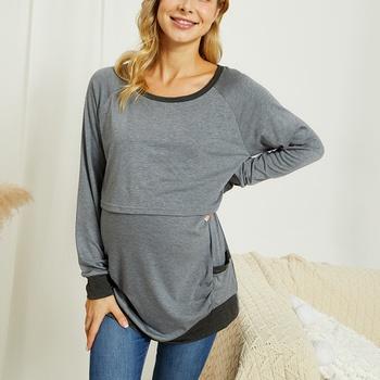 Maternity Round collar Plain Grey Long-sleeve Nursing Tee
