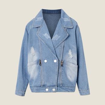 Kids Girl Denim Lapel Collar Jacket