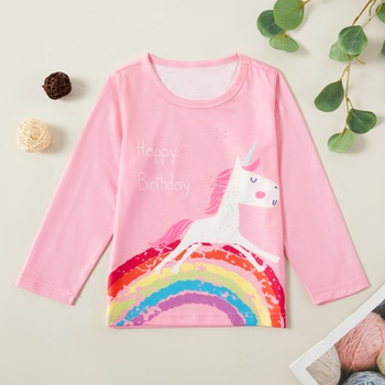Pretty Unicorn Rainbow Print Long-sleeve Tee