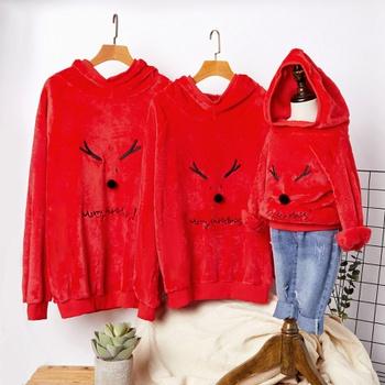 Christmas Antler Red Plush Hooded Family Matching Sweatshirts