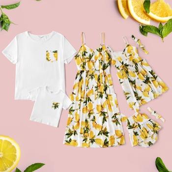 Mosaic Family Matching Lemon Rayon Tank Dresses and T-shirts