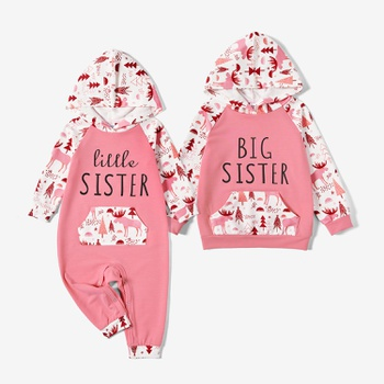 Mosaic Graphic Animal Pattern Winter Sister Hoodies Sets