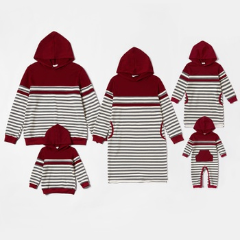 Mosaic Stripe Red Hoodies Family Matching Sweatshirts Sets(Included Sweatshirts Dresses for Mom and Me)